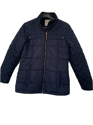 Girls Age 11-12 Years NEXT Navy Blue Quilted Jacket With Elbow Patches