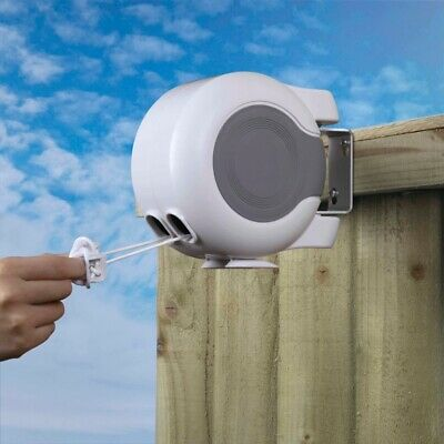 30m RETRACTABLE CLOTHES OUTDOOR REEL WASHING LINE DOUBLE NEW