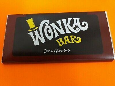Willy Wonka Dark Chocolate Bar Gift with new Golden Ticket Inside Great gift