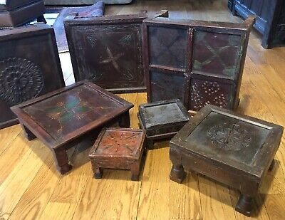7 Antique Chinese Asian wood stands Stacking Graduating Carved Painted Old