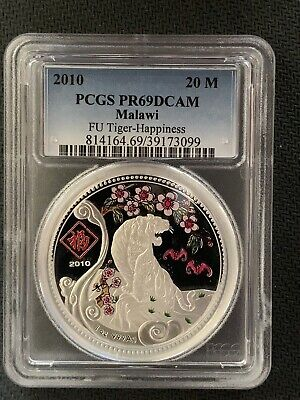 2010 Malawi 20 M Fu Happiness Tiger PCGS PR69DCAM Nice 1 Oz Silver Coin!