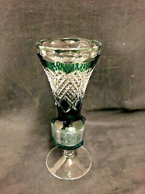 A val St. Lambert Green and Clear cut crystal vase signed
