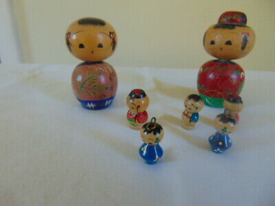 Antique Japanese KOKESHI Bobble Head Doll Family 1940(s) Wood VG *B92