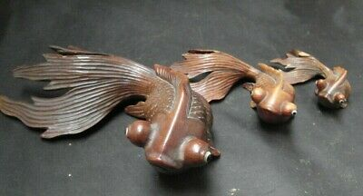 Antique Oriental vintage carved wooden fish Early 20th Century