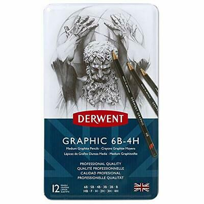 Derwent Graphic Drawing Pencils, Medium, Metal Tin, 12 Count (34214) From Japan