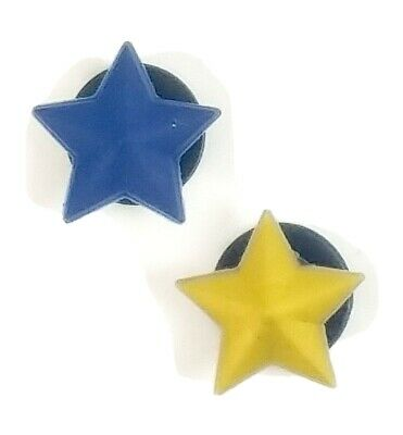 2 Star Pieces Blue + Gold '06-'07 Jibbitz Shoe Charms for Crocs Boy Girl