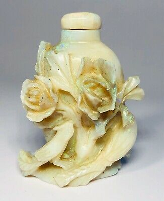 Antique 1920s Chinese Hand-Carved Opal Flowers & Birds Snuff Bottle