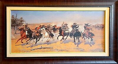"""Remington/'s A Dash For the Timber Large 10.5/"""" x 17.5/"""" Real Canvas Fine Art Print"""