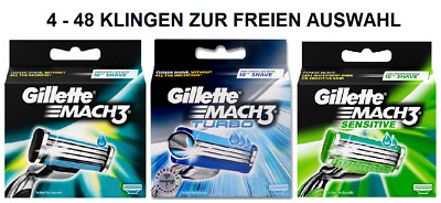 Gillette Mach 3 Turbo Sensitive Auswahl an Klingen 4 8 12 16 20 24 32 36 40 48