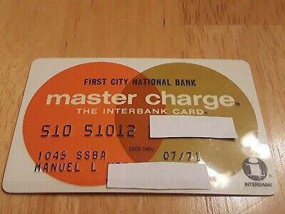 Vintage Expired Master Charge Credit Card First City National Bank 1971 signed