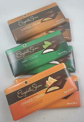 6 x elizabeth shaw 96gm chocolate bars caramel, mint & orange cream