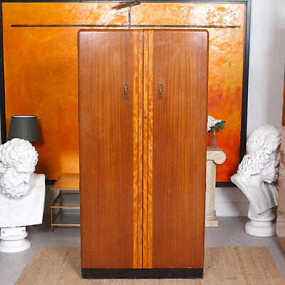 Vintage Walnut Wardrobe Gents Compactum Art Deco Wardrobe