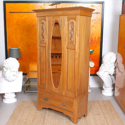 Antique Wardrobe Light Satinwood Mirrored Carved 19th Century Armoire Victorian