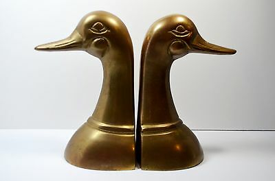 Vintage Brass Bookends Holders Goose Heads Figurines Bookends