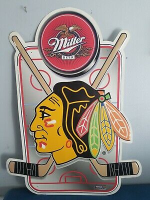 Miller beer Chicago Blackhawks NHL Hockey back bar tin sign game room