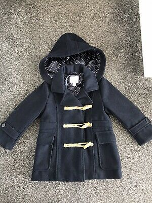 Great Condition Smart Lined Girls Next Duffle Coat Age 3-4 Navy