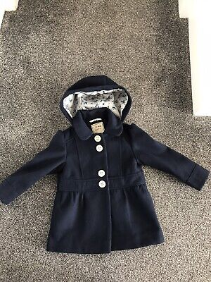 Great Condition Smart Girls Lined Next Coat Age 2-3 In Navy