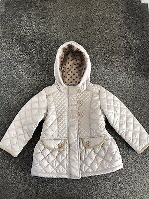 Great Condition Girls Fleece Lined Next Coat Age 2-3 In Beige
