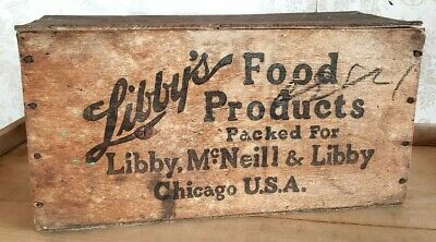 Vintage Libby's Corned Beef Wooden Box Urugay Shipping Crate With Lid Excellent