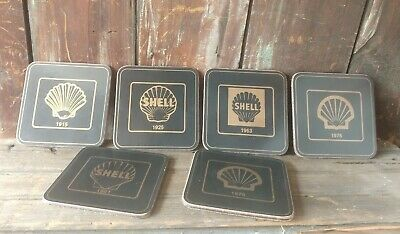 "Vintage Shell Oil Company - Drink Coasters - Set Of 6  Pcs - 3"" X 3"""