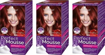 3x Schwarzkopf Perfect Mousse Permanente Schaumcoloration, 689 Helle Beere
