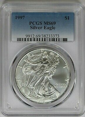 1997 PCGS American Silver Eagle MS69 Classic Blue Label Tougher Date Imperfect
