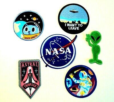 1x Alien Space Patches Embroidered Cloth Badge Applique Iron Sew On NASA UFO