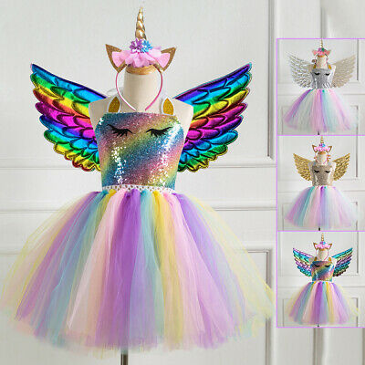 Unicorn Toddler Kids Girls Dress Birthday Sequins Wings Dress Outfits Costume
