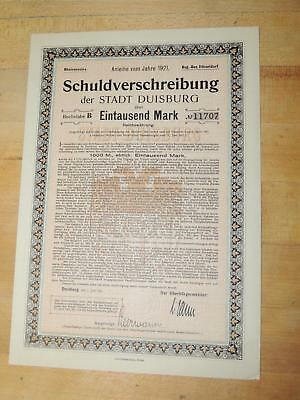 Vintage 1922 German 1000 Mark Bond Schuldverfchreibung