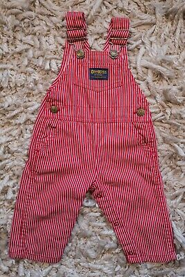 Vintage Red White OshKosh B'Gosh Vestbak Overalls 6 9 Months Baby Child Classic
