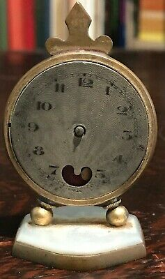 ANTIQUE BREVET MINIATURE DESK CLOCK / WATCH - Broken, Needs Repair, For Parts?