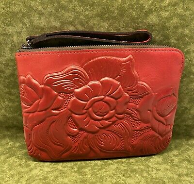 Patricia Nash Cassini in Red with Tooled Leather, New