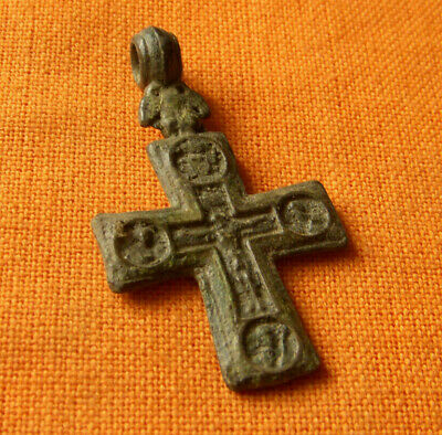 74.Medieval style bronze double faced cross.