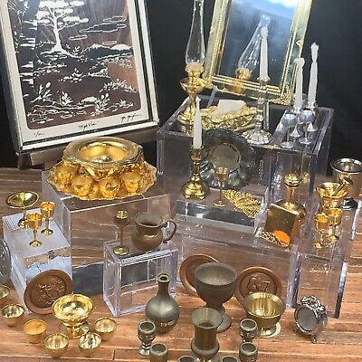 MINIATURE DOLLHOUSE 1:12 SCALE UNIQUE MINIATURES GOLD ORNATE MIRROR UMOM9