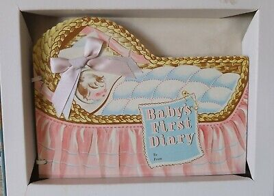 Vintage 1953 Baby Diary Keepsake Memory Photo Record Book Bassinet Pink Blue