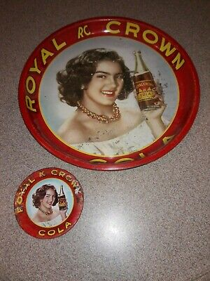 Royal Crown Cola RC Cola serving tray and ashtray from Mexico. From the 1940's.