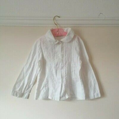 Mayoral white girls Peter Pan collar traditional pleated cotton shirt 2 yrs