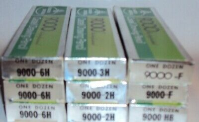 9 Dozen FABER-CASTELL Drawing Pencils 9000-2H, 3H, 6H, HB, F Germany NOS