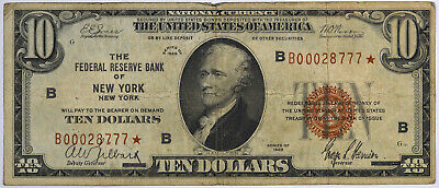 1929 $10 Federal Reserve Bank Of New York NY *STAR* Note Rare