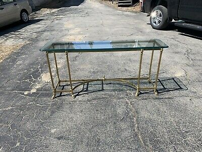 QUALITY  Brass + Plate Glass Top Console Table Mid Century LA BARGE ?