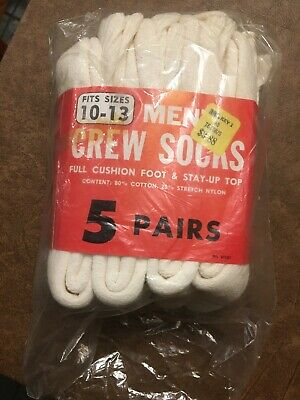 Vtg White Crew Socks Pack 10-13 Made in USA Kmart Crew 4 Pairs Open Package