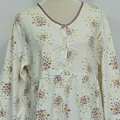 Simply Basic Warm 100% Cotton Flannel Long Sleeve Night Gown Sleepwear 1Xl