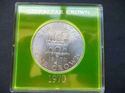 1970 Gibraltar Twenty Five Pence (Crown) Housed In A Perspex Case 25P Coin.