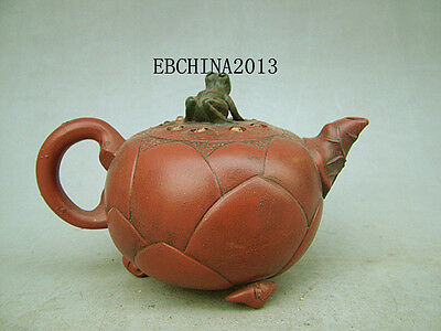 Chinese Yixing Old Zisha Clay Carved Lotus Root Toad Teapot Tea Pot Marked