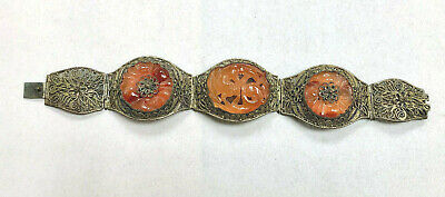 Antique Chinese Bracelet With Carved Carnelian Flowers Fancy Filigree Band