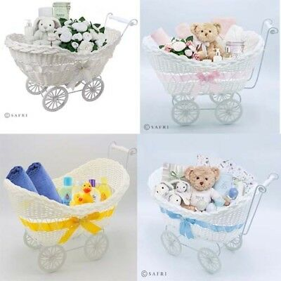 Newborn Boy & Girl Baby Shower Party Gifts Basket Hamper Small Wicker Stroller