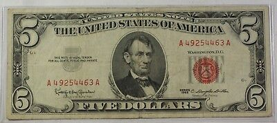 Series of 1963 Five Dollar Bill $5 *Red Seal* United States Currency VG-VF