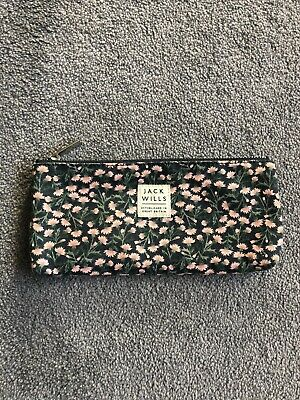 Jack Wills Navy And Pink Floral Print Case (pencilcase, Make-up brush case etc)