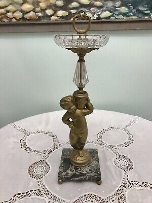 Antique Hollywood Regency Bronze,Black Marble & Glass Cherub Footed Tazza/Statue