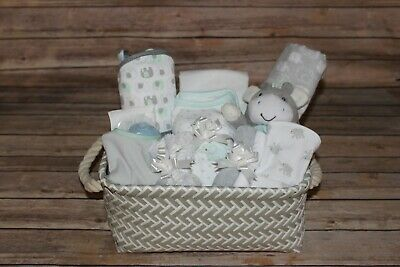 Beautiful Baby Neutral Gray Gift Basket, Perfect for Shower or Newborn Gift!